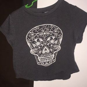Sugar skull h&m crop top